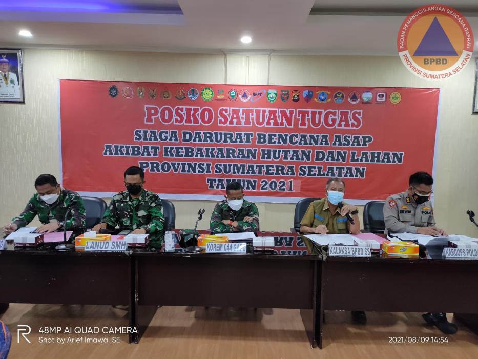 Kalaksa BPBD Provinsi Sumsel Pimpin Rapat Koordinasi  Posko Karhutla  Provinsi Sumsel Tahun 2021