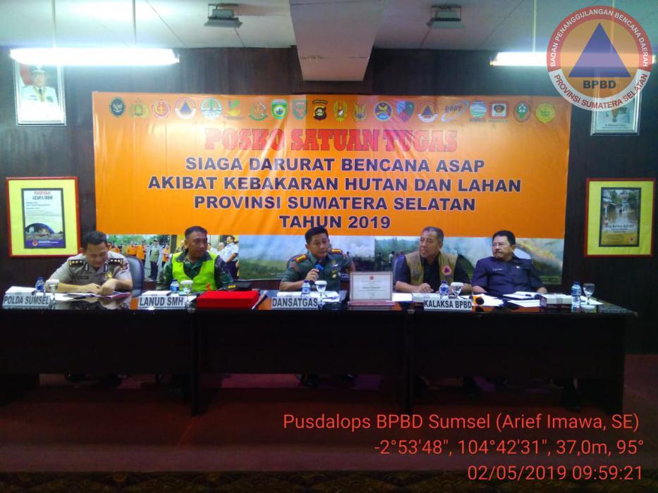Rapat Koordinasi Pengendalian Karhutbunla Posko Satgas Karhutla Prov. Sumsel Tahun 2019